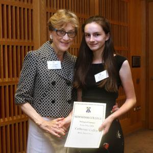 Newnham College Cambridge Essay Prize - Catherine Coffey with Principal Dame Carol Black
