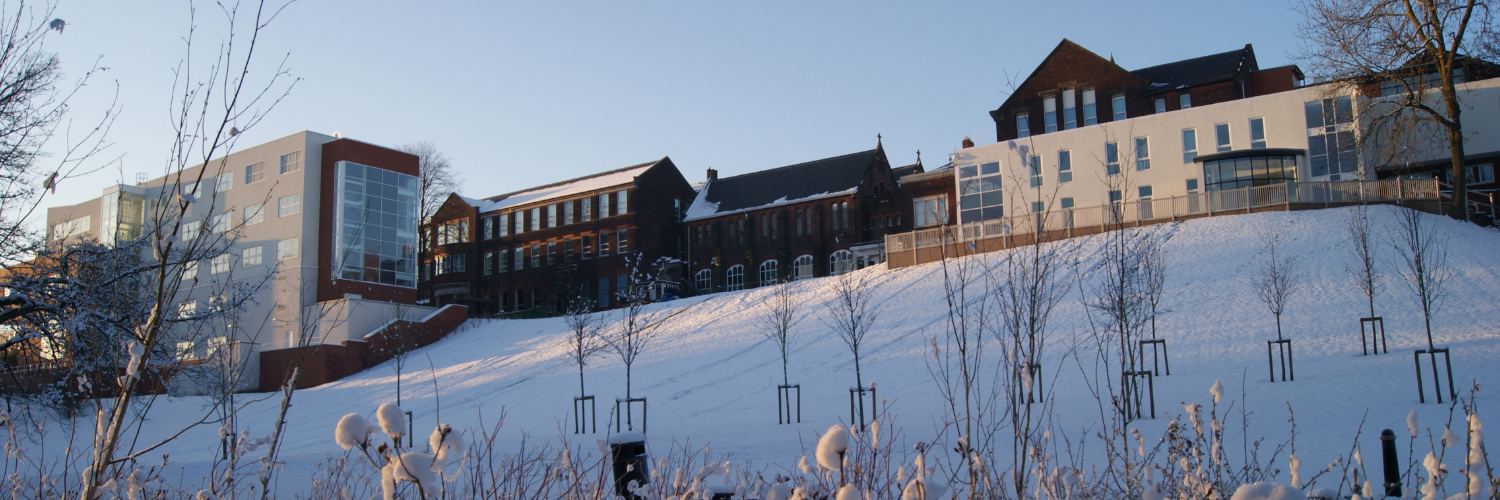 Cardinal Newman St. Bede building covered in snow